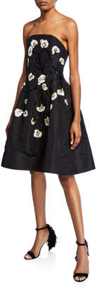Oscar de la Renta Floral Embroidered Strapless Dress