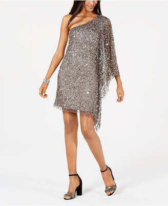 Adrianna Papell Petite Embellished One-Shoulder Dress