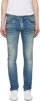 Balmain Blue Distressed Biker Jeans $1,785 thestylecure.com