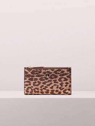 Kate Spade Metallic Leopard Small Slim Bifold Wallet, Rose Gold