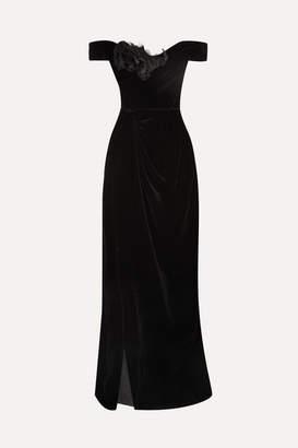 Marchesa Off-the-shoulder Appliquéd Velvet Gown - Black