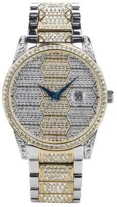 Croton Men's Two-Tone Honeycomb Designed Austrian Crystal Bracelet Watch