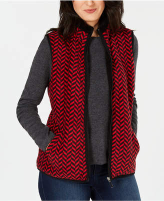 Karen Scott Petite Chevron-Print Vest, Created for Macy's
