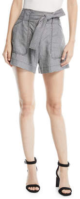 Derek Lam 10 Crosby Belted Check Patch-Pocket Linen Shorts