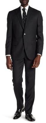 David Donahue Black Jacquard Two Button Notch Lapel Wool Classic Fit Suit