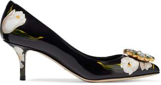 Dolce & Gabbana (ドルチェ & ガッバーナ) - ドルチェ & ガッバーナ クリスタル装飾付き フローラルプリント グロスレザー パンプス
