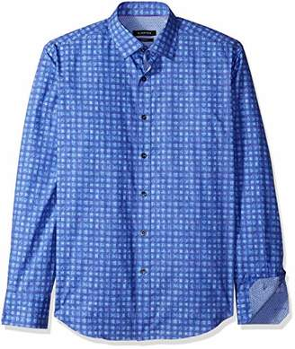 Bugatchi Men's Tapered Fit Long Sleeve Point Collar Cotton Shirt