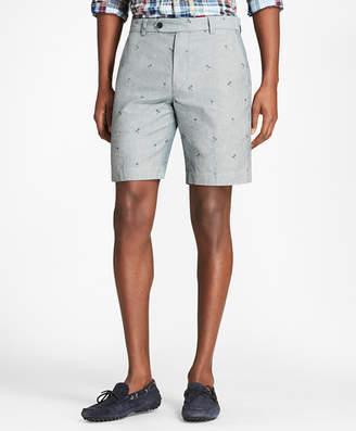 Brooks Brothers Palm Tree Print Chambray Shorts