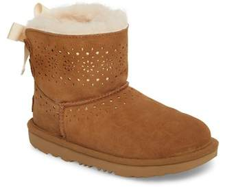 UGG Dae Perforated Tie Back Genuine Shearling Lined Boot (Little Kid & Big Kid)