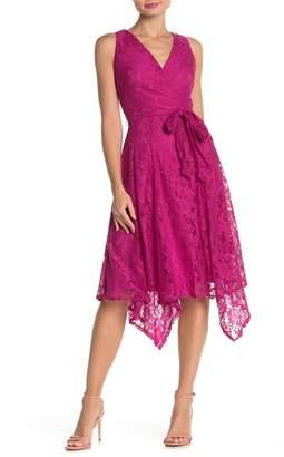 Gabby Skye Sleeveless Asymmetrical Lace Dress