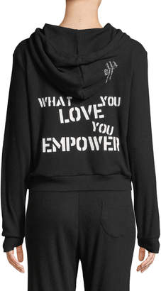 Peace Love World What You Love You Empower Ribbed Zip Hoodie