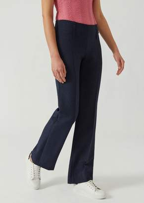 Emporio Armani Flared Trousers With Wide Loops In Solid Colour Fabric
