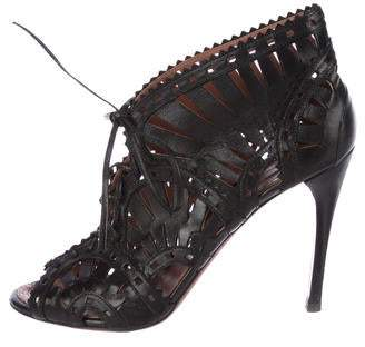 Alaia Leather Laser Cut Booties