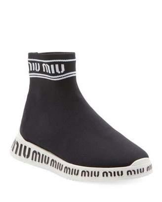 Miu Miu Sock Knit High-Top Trainer Sneakers