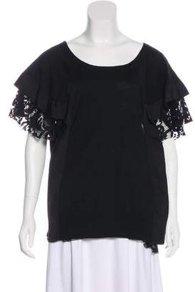 Sacai Lace-Trimmed Knit Top