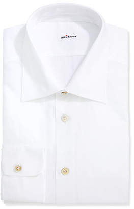 Kiton Poplin Dress Shirt, White