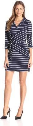 Tiana B Women's 3/4 Sleeve Stripe Knit Shirt Dress with Self Tie Belt, Navy/White