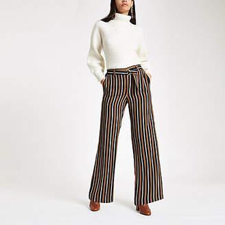 River Island Navy stripe wide leg belted pants