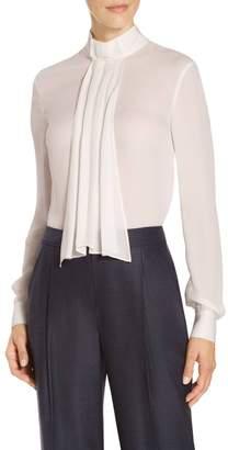 St. John Satin Silk Georgette Neck Tie Blouse