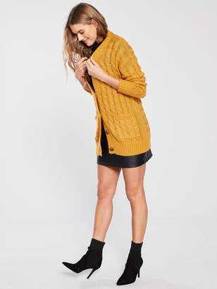 Very Cable Knit Slouch Fit Button Through Cardigan