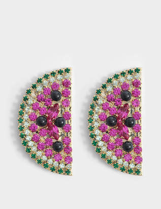 Anton Heunis Watermelon Slice Earrings in Fuchsia and Green Metal
