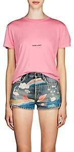 Saint Laurent Women's Logo Cotton Jersey T-Shirt - Pink