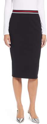 Halogen Stripe Waist Knit Pencil Skirt