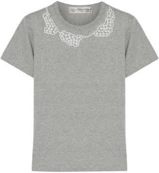 Comme des Garçons Comme des Garçons - Jupe By Jackie Faux Pearl-embellished Cotton-jersey T-shirt - Gray $325 thestylecure.com