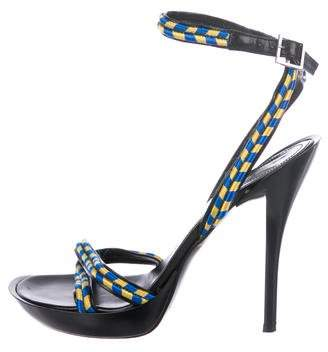 Casadei Woven Ankle-Strap Sandals
