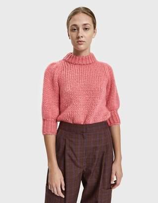 Ganni Julliard Mohair Puff Sleeve Sweater in Hot Pink d51d83fce