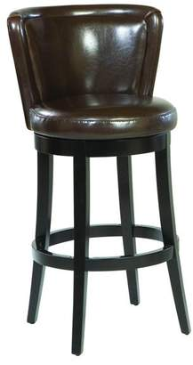 Armen Living Lisbon Swivel Stool, Brown Bonded Leather