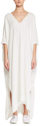 The Row Vikita Surplice Long-Sleeve Cady-Stretch Long Dress