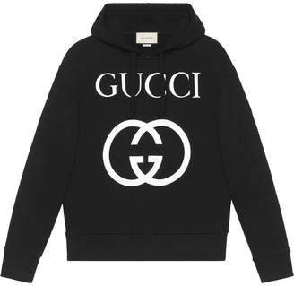 31b5282c4 Gucci Hooded Cotton Sweatshirt With Print - ShopStyle