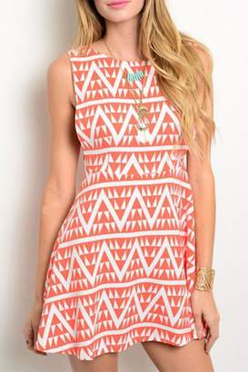 En Creme Tribal Skater Dress