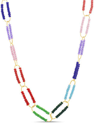 Steve Madden Women Multi Colored Beaded Oval Necklace