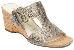 Anne Klein Nilli Wedge Leather Sandals