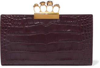 Alexander McQueen Knuckle Embellished Croc-effect Leather Clutch - Grape