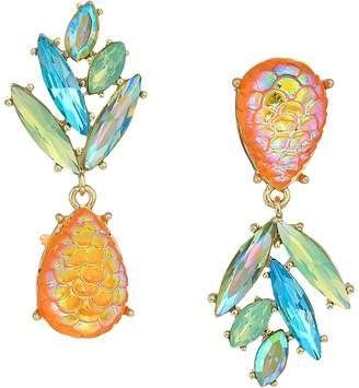 Betsey Johnson Yellow and Gold Tone Perfect Non-Matching Pineapple Earrings Earring