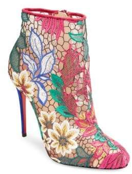 Christian Louboutin Miss Tennis 100 Floral Mesh Booties
