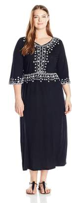 NY Collection Women's Plus Size Solid 3/4 Sleeve Embroidery Maxi Dress