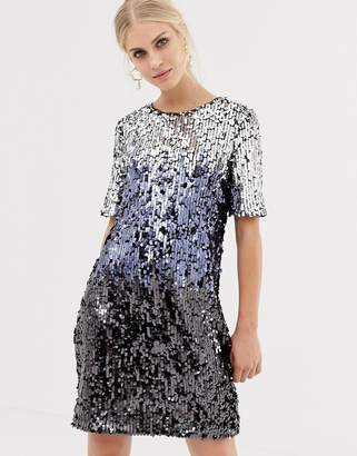 Oasis sequin t-shirt dress in silver ombre