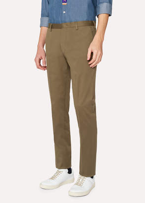 Paul Smith Men's Slim-Fit Olive Green Stretch-Cotton Twill Pants