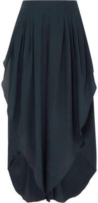 Chloé Asymmetric Silk-georgette Pants - Navy