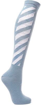 Off-White Metallic Intarsia Cotton-blend Socks - Light blue