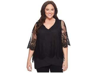 Karen Kane Plus Plus Size Lace Overlay Asymmetric Top Women's Clothing