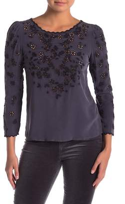 Rebecca Taylor Long Sleeve Miranda Embroidered Top