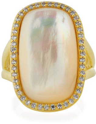 Freida Rothman Mother-of-Pearl Cabochon Ring w/ Pave Frame, Size 6