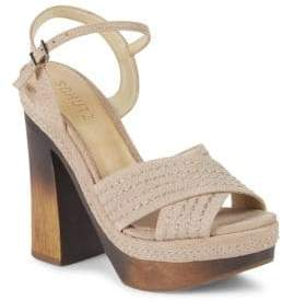Schutz Edma Leather Ankle-Strap Sandals