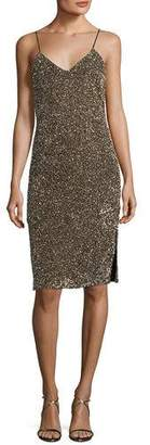 Alice + Olivia Stila Embellished Sequin Sleeveless Fitted Cocktail Dress
