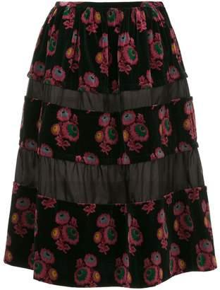 Comme des Garcons Pre-Owned floral velvet skirt